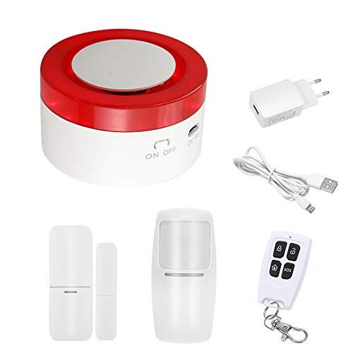 OWSOO 433MHz Sistema de Alarma Inteligente WiFi Gateway Host & Sirena 2 en 1 Control Remoto de Phone App Compatible con Amazon Alexa Voice Control Conecta con Interruptor Inteligente & Cámara WiFi