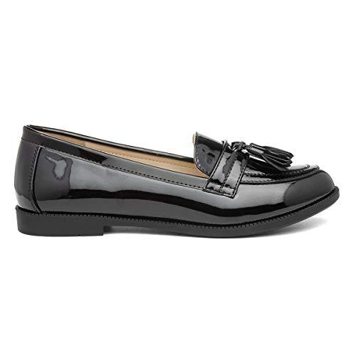Lilley Womens Black Patent Loafer - Size 7 UK - Black