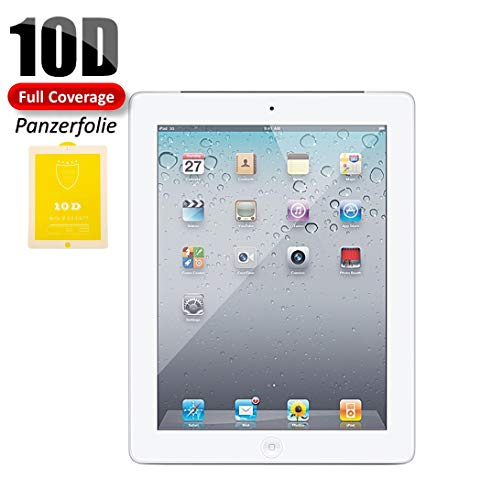OnyxTM Premium 10D Full Coverage Gorilla Ultra HD+ 0.26 mm Pellicola Protettiva Tempered Glass Protector per Apple iPad 2/3/4-9H – Bordo Bianco