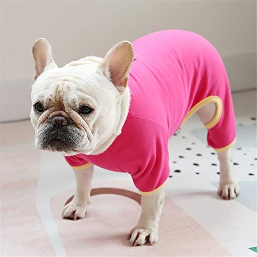 Hdwk&Hped Small Medium Dog Shirt Soft Cotton Pet Pajamas Jumpsuit Style for Fat Dog French Bulldog Corgi Dark Rose-red #6