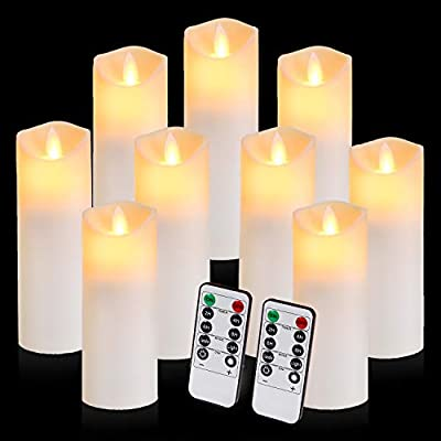 Flickering Flameless Candles with 10-Key Timer Remote, Exquisite Decor Battery Operated Candles Outdoor Heat Resistant with Realistic Moving Wick LED Flames by Aignis