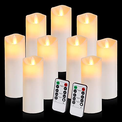Flickering Flameless Candles with 10-Key Timer Remote, Exquisite Decor Battery Operated Candles Outdoor Heat Resistant with Realistic Moving Wick LED Flames
