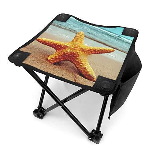 BTRWAPS Blue Sea Star Portable Folding Stool,Mini Portable Lightweight Outdoor Folding Chair with Carry Bag