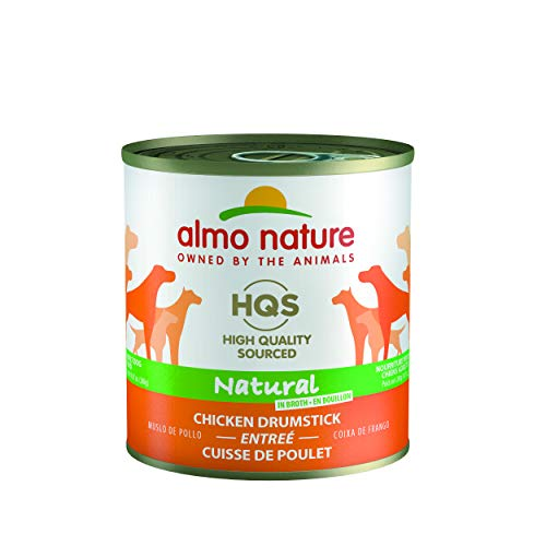 Almo Nature HQS Natural Chicken Drumstick, Additive Free, Gluten Free, Adult Dog Canned Wet Food, Shredded.