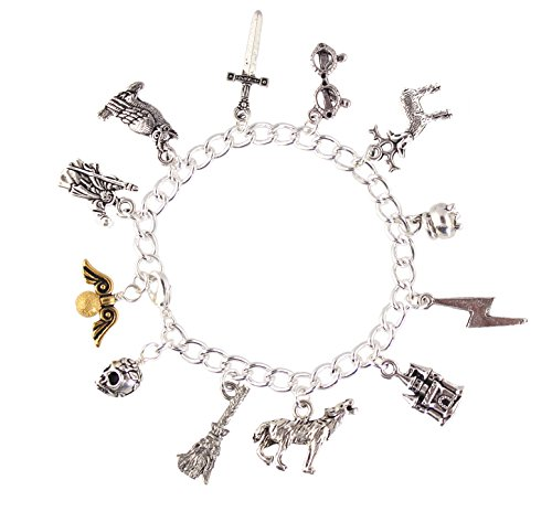 Night Owl Jewelry 魔法使いと魔女の魔法使いのファンチャームブレスレット ピューターチャーム シルバーメッキチェーン サイズXS-XL