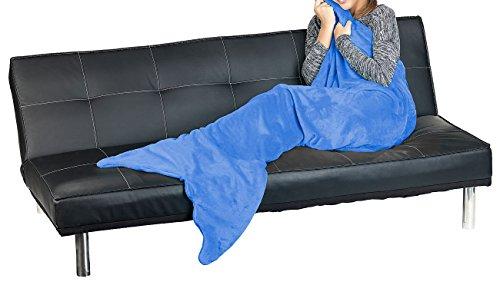 Wilson Gabor Schwanzflossen Decke: Weiche Meerjungfrau-Decke mit Flosse für Erwachsene, 180 x 70 cm, blau (Flanell-Decke)