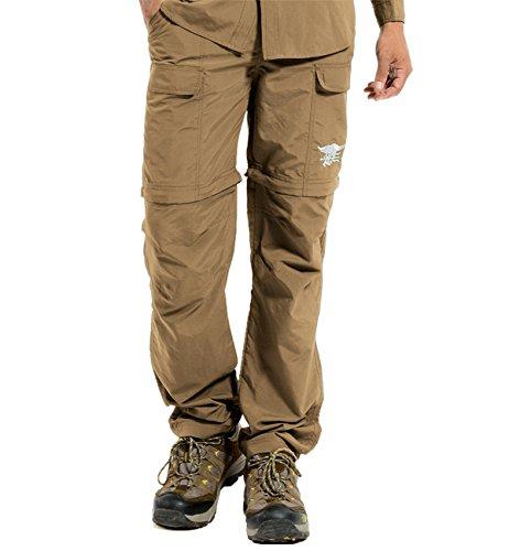 Hilarocky Pantalones Hombres Largo / Corto Impermeable Senderismo Táctico Camuflaje Secado Rápido Fino y Transpirable para Primavera y Verano Caqui XXXL