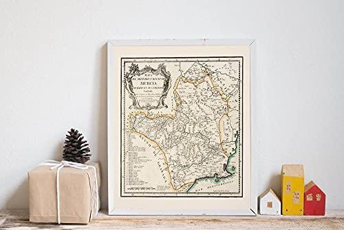 MG global Impresión de mapa de Murcia   Arte de pared impreso  Mapas vintage de España para decoración de pared   Mapa de Murcia   Mapas de pared   Mapa desplegable Arte de pared sin marco