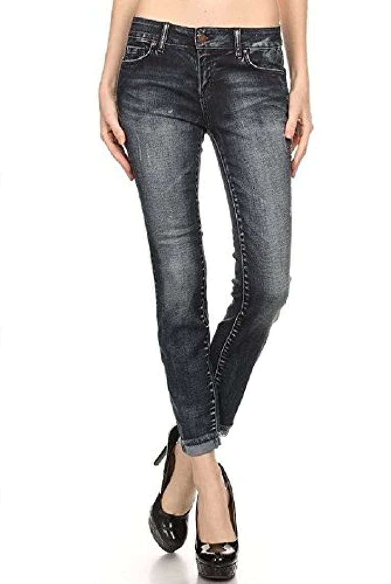 Wax Women's Juniors Low Rise Faded Ankle Jeans