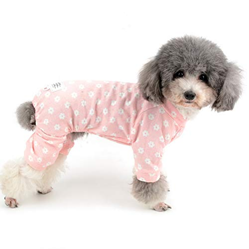 Zunea Schlafanzug für kleine Hunde, Gänseblümchen-Motiv, Baumwolle, Overall, Schlafanzug, Schlafanzug, Hemd mit Hose, Haustier, Hund, Katzen, vier Beine, für alle Jahreszeiten, Pink, XL