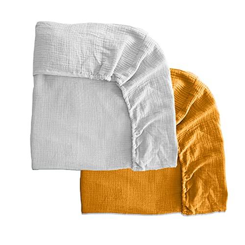 Pack 2 sábanas bajeras para moisés o capazo de Cochecito, sábanas Ajustables de Muselina Recambio Bajera Carrito bebé. Vestiduras moisés. Mimuselina (Blanco-Mostaza)
