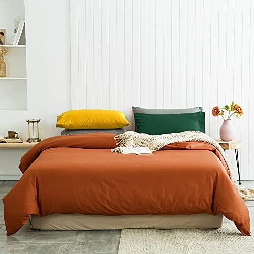 VCLIFE Twin Cotton Bedding Sets Kid Contrast Color Bedding Comforter Cover Sets for Boy Girl (1 Caramel Duvet Cover + 1 Green Pillowcase + 1 Green Pillowcase)_ No Duvet, Latest New Bedding Collections