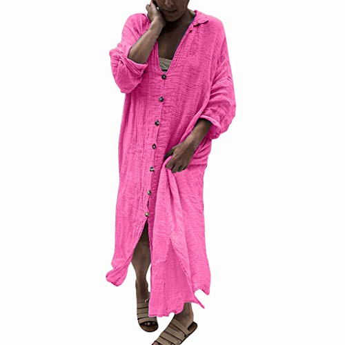 SANNYSIS Damen Langarm Blusenkleid Freizeitkleider Lose Herbst Kleid V-Ausschnitt Sommerkleid Langes Maxikleider Vintage Strickjacke Dünne Sommermantel Rosa S