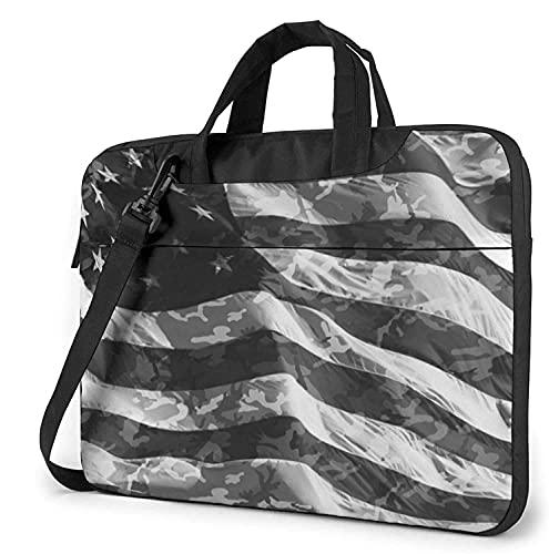 Laptop Shoulder Bag,Camo American Flag Shockproof Laptop Sleeve Cover Business Messenger Bag Briefcase Handbag Case 13/14/15.6 inch