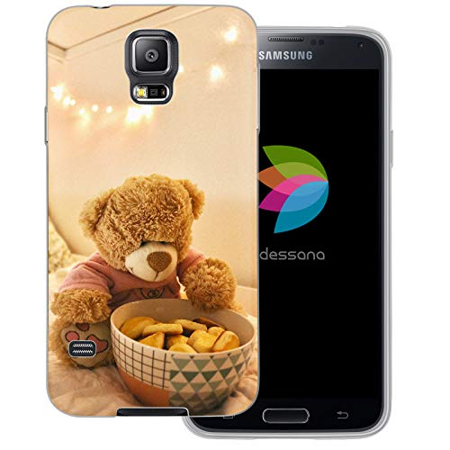 dessana Teddys transparente Schutzhülle Handy Case Cover Tasche für Samsung Galaxy S5/Neo Teddy mit Keksen