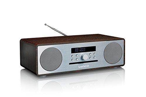 Lenco DAB+ Stereo Digitalradio mit CD-Player und Bluetooth DAR-070 (DAB, DAB+, UKW, RDS, USB, AUX) 2 x 18 Watt RMS Musikleistung walnuss