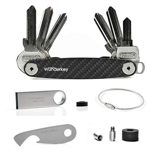 WUNDERKEY ® Ultimate Package Carbon – Key Organizer Set mit Add-Ons [mit USB-Stick, Flaschenöffner & Schlüsselring   Made in Germany ]