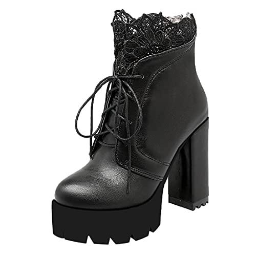 MISSUIT Damen Chunky Heels Ankle Boots mit Schnürung und Spitze Blockabsatz Plateau High Heels Stiefeletten Reißverschluss Hinten(Schwarz,34)