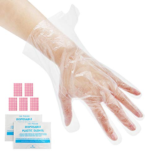 200 piezas de revestimientos de baño de parafina para manos, guantes transparentes desechables Segbeauty con pegatinas, guantes protectores de cubierta de manos para cocinar en la cocina