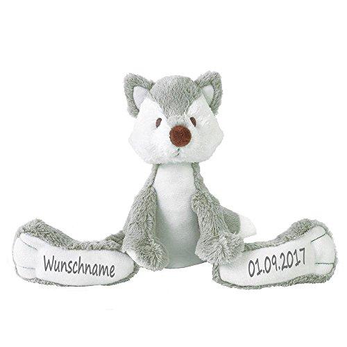 Elefantasie Stofftier Fuchs mit Namen und Geburtsdatum personalisiert Geschenk grau