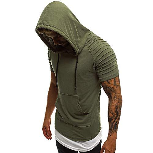 Camiseta Casual de Manga Corta con Capucha y Plisada Delgada para Hombre Verde L
