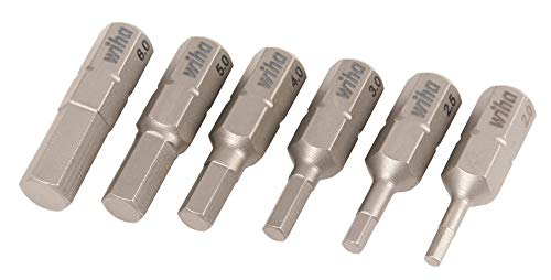 Wiha 71397 2.0 to 6.0mm Hex Metric Insert Bit, 6-Piece