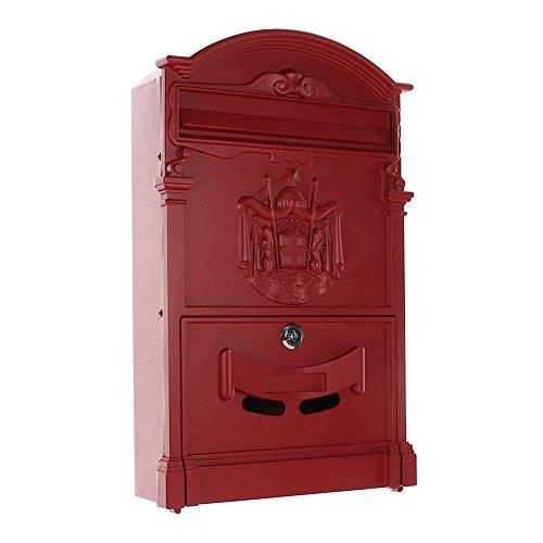 HomeDesign Briefkasten HDM-100-Rot, Aluminium, Sichtfenster, Namenschildhalter, Stahlklappe, Zylinderschloss