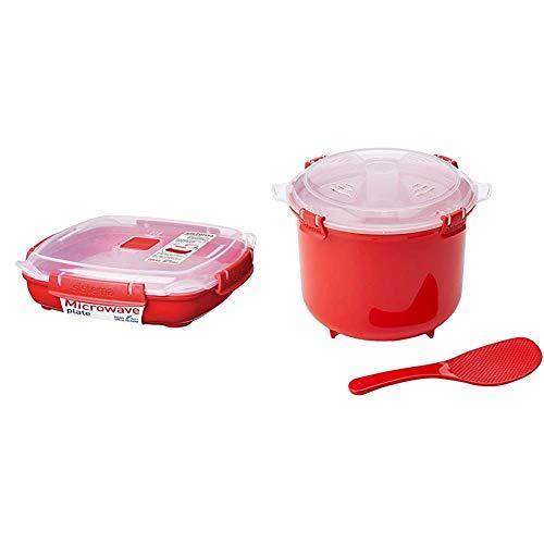 Sistema Piatto medio per microonde 880 ml, Rosso Cuociriso, Colore Rosso
