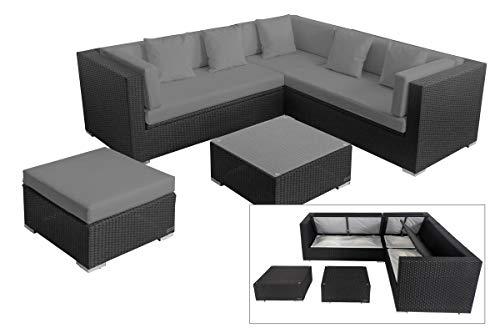 OUTFLEXX Loungemöbel-Set, schwarz aus Polyrattan-Geflecht, Loungeecke für 6 Personen, wasserfeste Kissenbox, inkl. Kaffeetisch