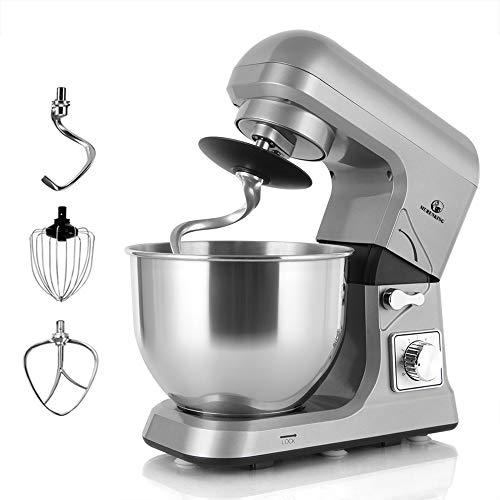 MURENKING MK36C Professionelle elektrische Küchenmaschine mit Zubehören, 1000 Watt, 5-Liter Edelstahlschüssel, 6-Geschwindigkeitsregler (grau)