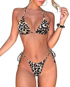 SUUKSESS Women Tie Thong Bikini Set Sexy String Swimsuits 2 Pieces  Cheetah Medium