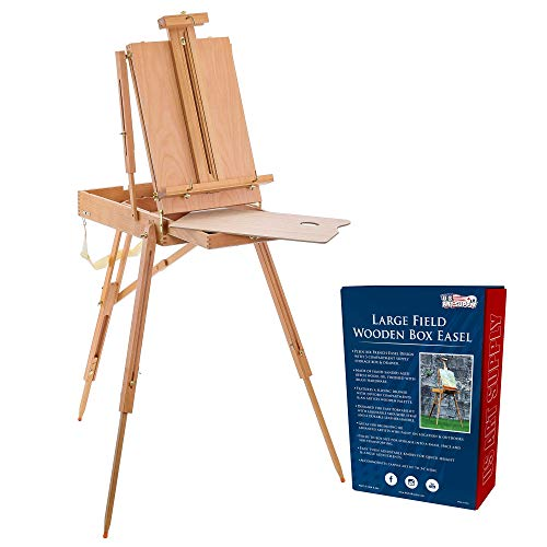 U.S. Art Supply Coronado Large Wooden French Style Field and Studio Sketchbox Easel with Artist Drawer, Palette, Premium Beechwood - Adjustable Wood Tripod Easel Stand for Painting, Sketching, Display