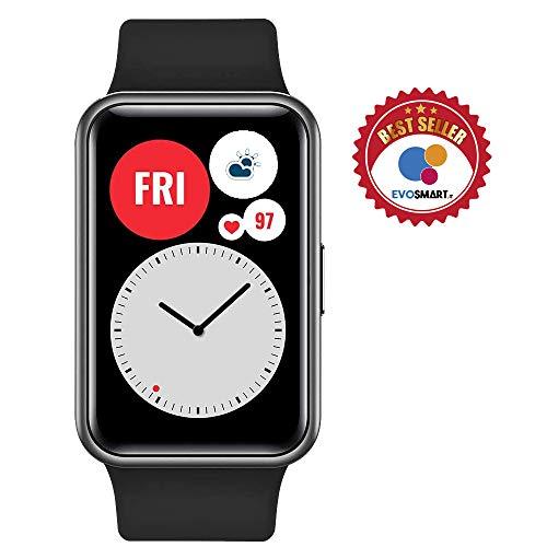 """HUAWEI WATCH FIT Smartwatch, Display AMOLED da 1.64"""", Animazioni Quick-Workout, Durata della Batteria 10 Giorni, 96 Modalità di Allenamento, GPS Integrato, 5ATM, Monitoraggio del Sonno, Graphite Black"""