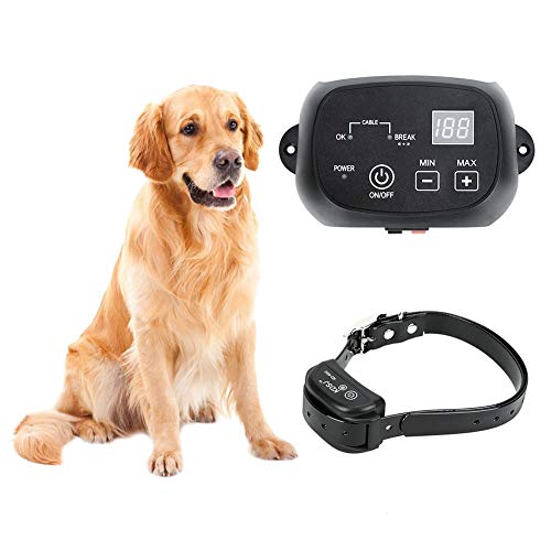 CEVENE Electric Dog Fence,Aboveground/Underground Dog Containment System(IP66 Waterproof and Rechargeable Collar,Shock/Tone Correction,for 1 Dog)