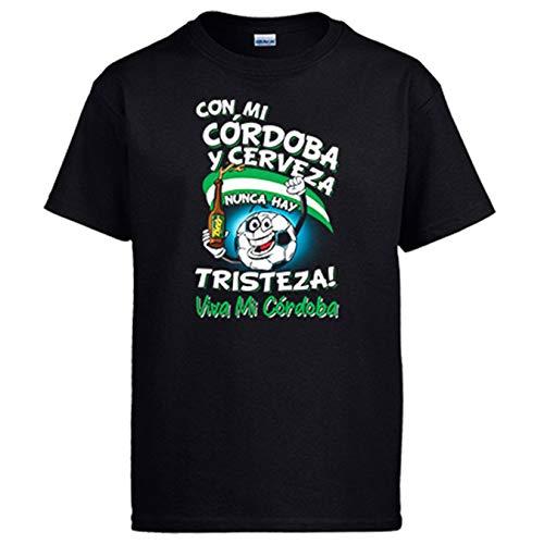 Camiseta Frase con mi Córdoba y Cerveza Nunca Hay Tristeza para Aficionado al fútbol - Negro, M