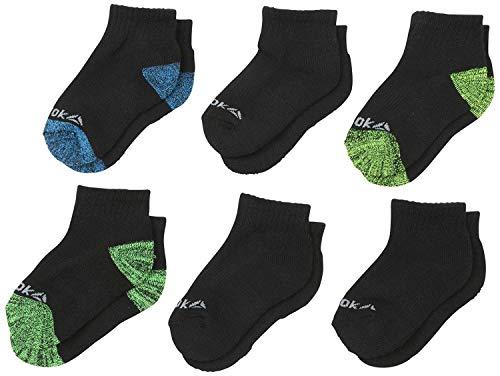 'Reebok Boys' Cushioned Quarter Cut Basic Socks (6 Pack), Black Marled, Size Small/Shoe Size: 4-8'