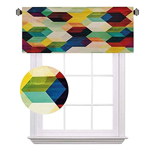 Cenefas de bolsillo para barra de oscurecimiento, diseño de rombo, efecto hexagonal, colorido mosaico geométrico, impermeable y lavable, para ventana pequeña, 52 x 12 pulgadas, multicolor