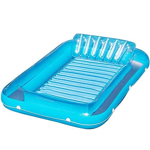KCGNBQING Cama flotante de la silla de salón inflable de doble agua, una piscina para adultos que toma el sol cómoda con la fila flotante de la playa plegable de la playa colchón inflable, azul Juguet