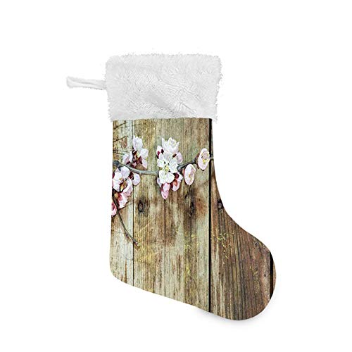 Jieaiuoo Christmas Stocking Hanging Decoration,Stained Walnut Branch with Soft Twiggy Swirling Flowers Leaves Cottage Life Concept,Christmas Holiday Ornaments Home Decor Toys Candy Gift Bag
