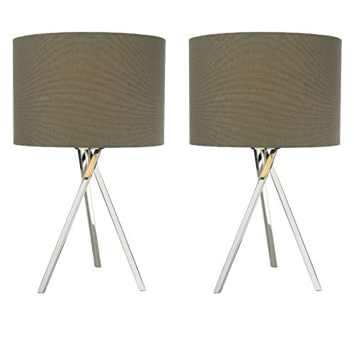 Pair of Contemporary Chrome Finish Tripod Table Lamps Bedside Lights with Grey Linen Shades - Lampshades Included - Inline On/Off Switch