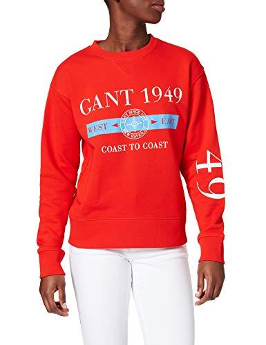 GANT D1. Nautical C-Neck Sweat Sudadera, Rojo Lava, L para Mujer