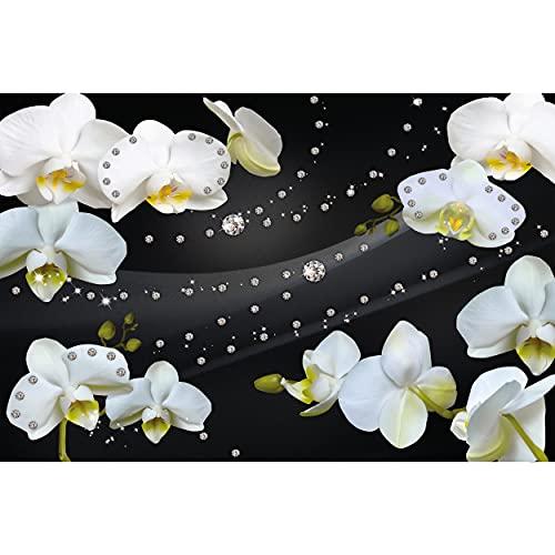 GREAT ART® Fototapete – Orchidee Weiß mit Diamanten – Wandbild Dekoration Blumen Modern Flowers Blüten Orchid Knospe Phalaenopsis Knabenkraut Foto-Tapete Wandtapete (210 x 140 cm)