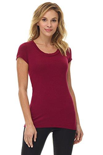Rekucci Women's Perfekt weiches Kurzarm T-Shirt mit Rundhalsausschnitt