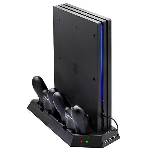 Linkstyle PS4 Pro Vertikal Ständer Lüfter Controller Ladestation mit LED Lichtanzeige Playstation 4 Pro Konsolen Halter