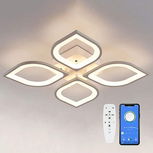 LED Deckenleuchte dimmbar mit Fernbedienung, Weiß APP Wohnzimmer Innenbeleuchtung Dimmen Deckenlampe, Farbtemperatur 3000K-6500K für Wohnzimmer Schlafzimmer Esszimmer Küche Büro Flur