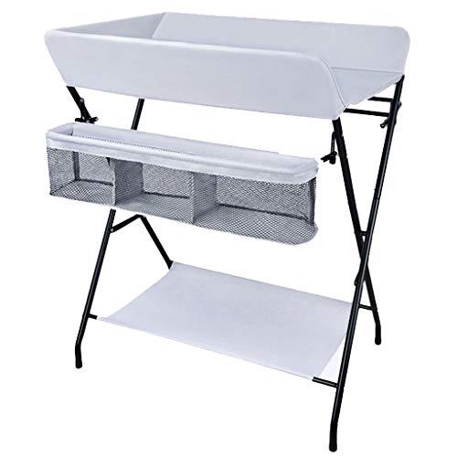 QZ Tables à Langer Table à Langer portative de bébé, unités de Massage de Nouveau-né de Commode Se Pliante de pépinière pour Le Petit Espace, 0-2 Ans (Couleur : Gris Clair)