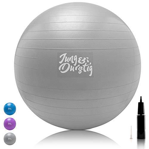 Jung & Durstig Gymnastikball inklusive Luftpumpe | Yoga Ball in 3 2 Größen | Sitzball BPA-Frei | Balance Ball für Rücken Training | Hüpfball für Büro Zu Hause und Fitness (75cm Grau)