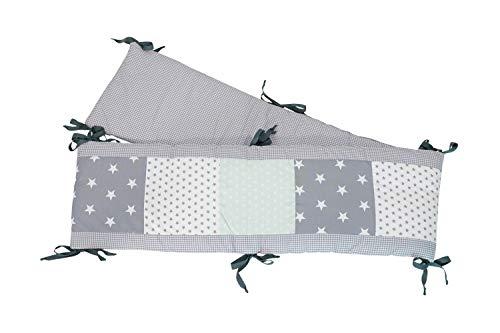 ULLENBOOM ® boxbumper l 200x30 cm l bedbumper voor babyboxen l omranding voor een box van 100x100 cm I mint grijs