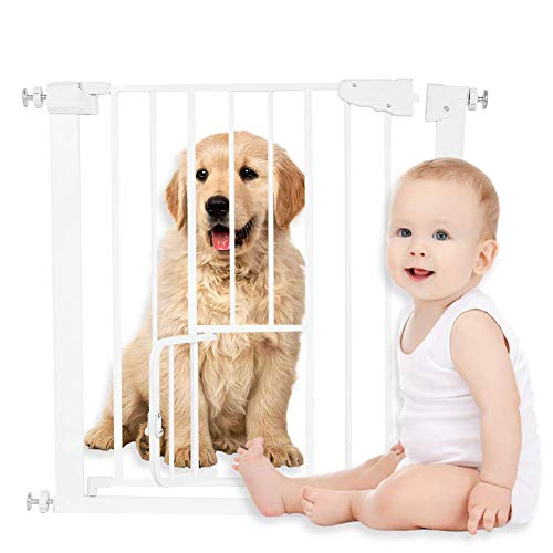 Greensen Pet Poppy Baby Safety Gate Pet Guard Door Auto Close Swing Shut Stair Fence Pet Protection, Adjustable Baby Pet Safety Gate Door for Baby Children Toddlers Kids Cats Dogs Poppy, White