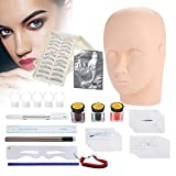 Kit de herramientas de tatuaje Práctica profesional Conjunto de cabezas de entrenamiento de maquillaje Kit de tatuaje completo para práctica Ceja Eyeline Extensión de pestañas Labios Modelo 3D